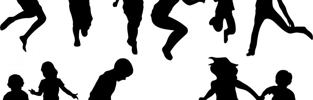 Skyggebilleder af børn i bevægelse