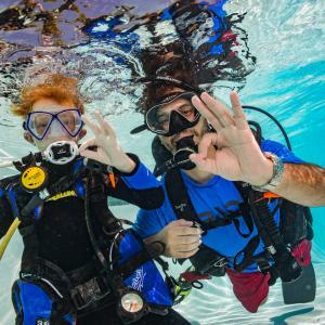 Barn og voksen dykker