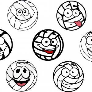 Tegnede volleybolde med ansigter