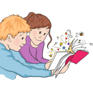 Tegning af to der læser en bog